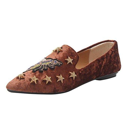 Ballerines Style Mocassins en Daim Femme,Overdose Automne Hiver Chaussures Plates /à Enfiler Casual Loafers Flats
