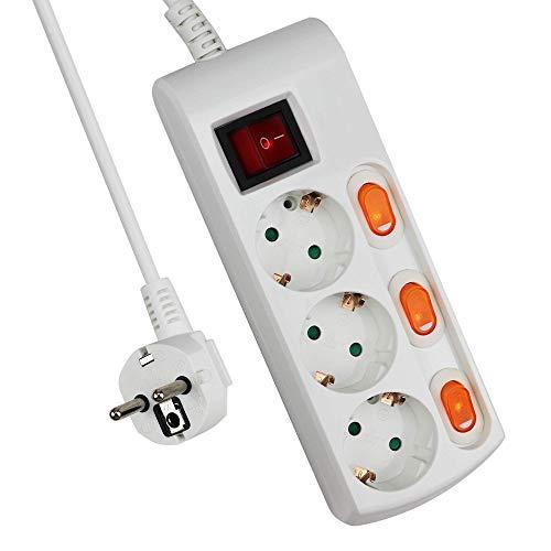 Bleu Glace//Noir 10 prises, 2 interrupteurs et protection contre surtensions, prises tourn/ées /à 45/°,longueur de c/âble de 2 m Hama Bloc Multiprises