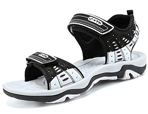 Gaatpot Enfant Sandales et Nu-Pieds en Cuir B/éb/é Chaussure Sandales Bout Ferm/é Chaussure d/ét/é pour Gar/çon Fille Blanc 22 EU//21 CN