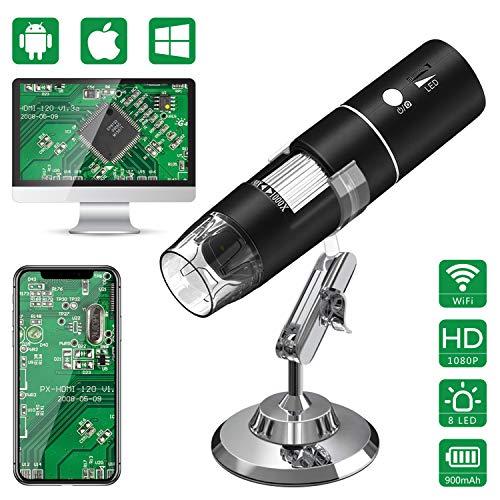 Microscope num/érique sans fil Windows PC Mac compatible avec les smartphones ou tablettes Android et iOS Microscope 1080P FHD WiFi USB Amplificateur dendoscope /à grossissement de 50 /à 1000 fois