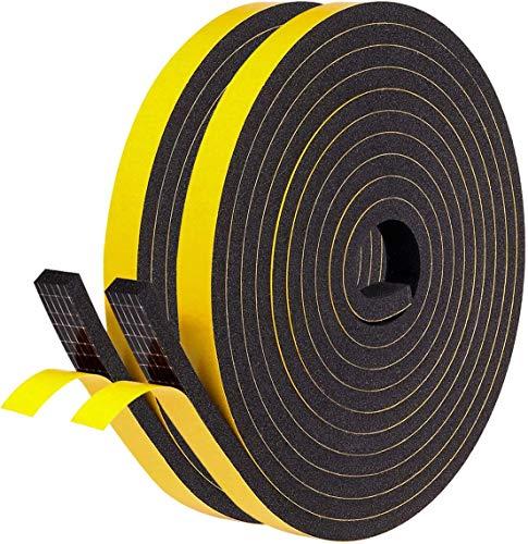 Fowong Bande adh/ésive en mousse auto-adh/ésive /à cellules ferm/ées pour fen/être porte et climatiseur 12mm*12mm*2m 2 pcs total 4m de long