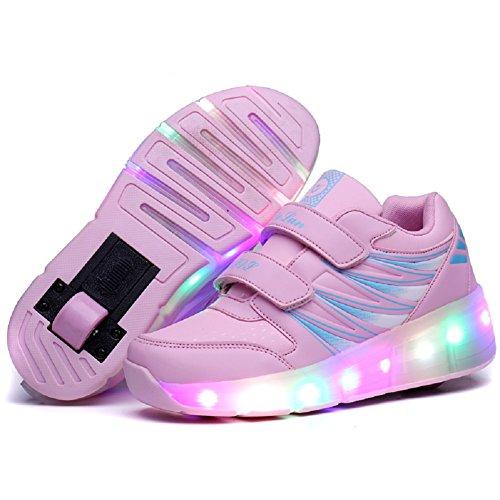 Enfants chaussures /à roulettes unique//double roue chaussures de sport technique ext/érieur de skateboard extensible gymnastique baskets gar/çons filles