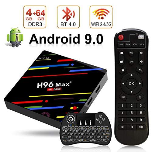 Android TV Box T9/Android 8.1/TV Box avec Mini Clavier sans Fil Go RAM Go Rom rk3328/Bluetooth 4.1/processeur Quad-Core cortex-a53/2.4GHz WiFi Compatible avec 4/K2K Ultra h.265/Smart TV Box